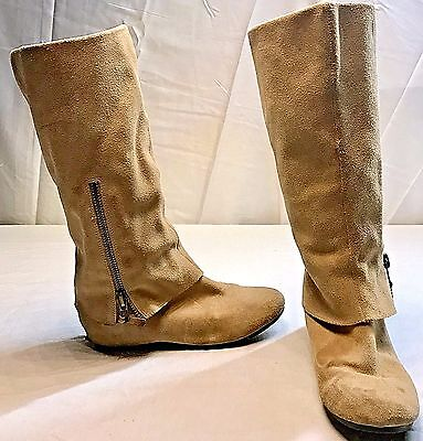 a355a010691 Steve Madden Criskros Beige Suede Knee High Flat Slouchy Cuff Boots Size 7 M