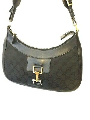 ee90aa2ce63 Authentic Gucci Black Jackie GG Monogram Canvas   Leather Hobo Bag 001-4128