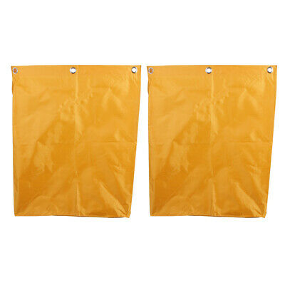 2pcs Oxford Waterproof Janitorial Cleaning Cart Bag Storage Bags Yellow