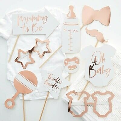 OH BABY ROSE GOLD Baby Shower Party Photo Booth Props Gender Reveal Twinkle Star