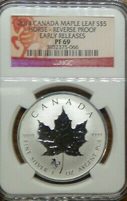 2014 Canada Maple Leaf S$5 Horse Privy Reverse Proof Ngc Pf 69