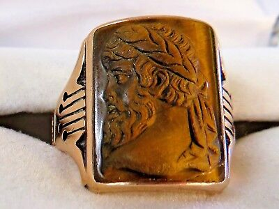 10K Rose Gold Carved Intaglio Tigers Eye Roman Cameo Ring Mens Size 9 (9.31g)