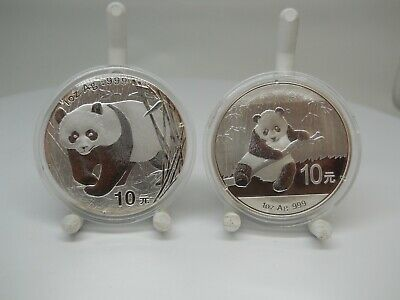 2002 & 2014 1ozt .999 Silver China 10 Yuan Panda Coins In Capsules
