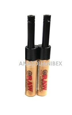 2 Ct Clipper TUBE RAW Design Lighters Refillable Pipe BBQ Grill CANDLE Lighter