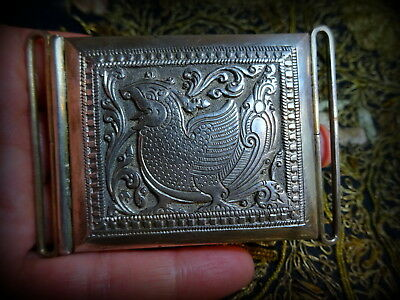 Antique Rare India Burma Military Solid Silver Repouse Ceremonial Buckle II