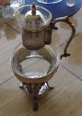Coffee Carafe Warmer Glass Holder IS Silverplate