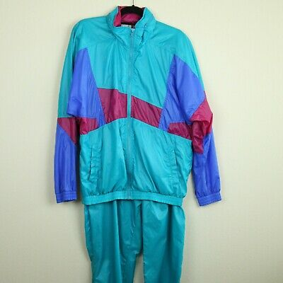 Vintage 90s Windbreaker Tracksuit Jogger Set Nylon XL Teal Blue Geometric Pants