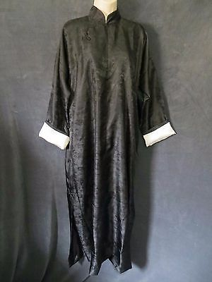 Vintage Black Embossed Dragon Priest White Removable Trim Long Wrap Robe Dress L