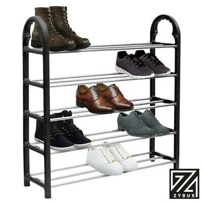 5 Tier 15 Pairs Shoe Stand Storage Organiser Rack Lightweight Compact Space Save