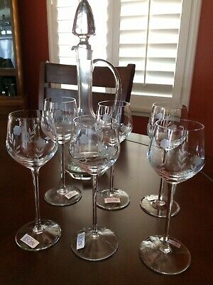 Toscany Hand Blown Hand Cut Crystal Wine Decanter and Glasses - Set of 6