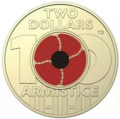 2018 $2 Two Dollar Red poppy Armistice Coin  - UNC! From RAM BAG MINT ✅ Buy Safe
