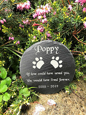 Personalised Engraved Pet Memorial Round Slate Grave Marker Plaque Dog Cat