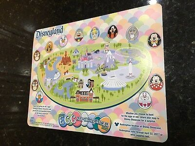 2017 Disney Parks Disneyland Park Eggstravaganza Map and Stickers ONLY USED