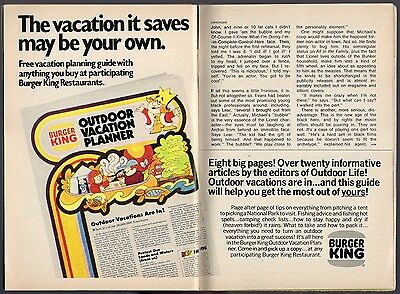 1973 Burger King Ad~Outdoor Vacation Planner~Restaurant Promo ~Fast Food