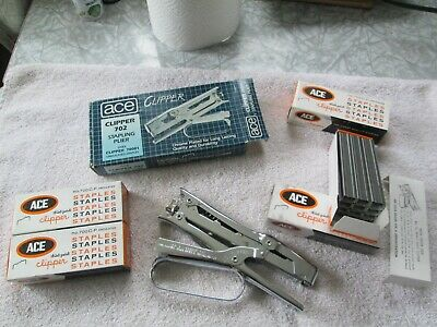 Ace # 702 Clipper Stapler (Repair) & 4 Boxes Ace Undulated #700 Staples (5000)
