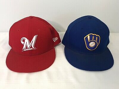 separation shoes ffc61 253ca 2 Milwaukee Brewers Blue Red Alternate New Era 59fifty Cap Hat Fitted Size  7 1