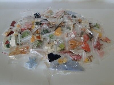 Ceramic Buttons Assorted Handmade Lots Of Patterns And Shapes Over 200 Pieces