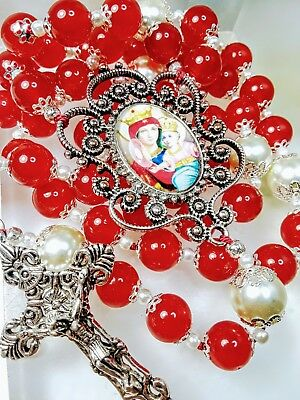 Beautiful Victorian Style Cameo Ruby Red Jade Bead White Pearl Catholic Rosary