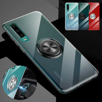 For Huawei P30 Pro Lite Mate 20 X Magnetic Ring Stand Clear TPU Phone Case Cover