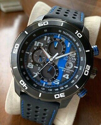 Citizen Eco-Drive Men's CA0467-03E Solar Watch Primo Date Black Blue Chronograph