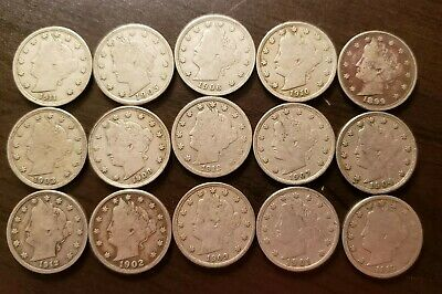 Lot of Fifteen different better date/grade Liberty head nickels. Includes 12-S