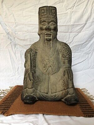 Ming Dynasty Carved Stone Architectural Seated Figure