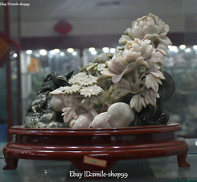 """13"""" Top Quality Natural Dushan Jade Hand Carved Peony Flower Leaf Tree Statue"""