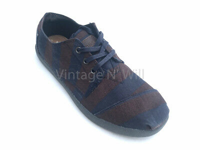 Toms Shoes Mens 9 Navy/ Dark Brown Stripe Washed Canvas Cordones Leather Logo