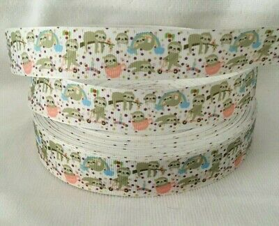 "Sloth Grosgrain Ribbon sold by 2m size is 1"" - 25mm wide - Craft - Cake"