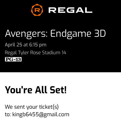 Avengers Endgame Movie Tickets 3D PA April 25th