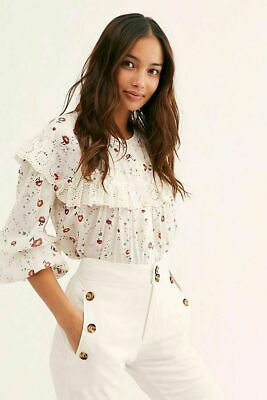 47073c294a 188969 New Free People Falling For You Printed Blouse Ruffle Buttondown Top  S