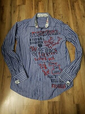 free shipping great quality differently DESIGUAL MENS ATYPICAL Winter Embroidered blue Button Up ...