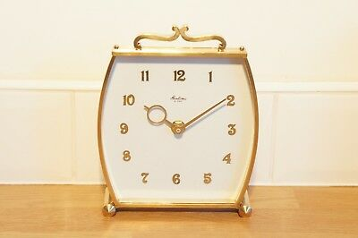 Vintage Bentima Mantel Clock, Brass Case, White Face, Battery Quartz Mechanism.