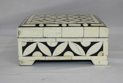 Vintage Look Decorative Hand Painted Mughal Solid Camel Bone Trinket Box 11075 Antiques Other Asian Antiques