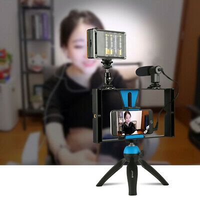 Smartphone Video Rig Phones Video Stabilizer Grip Tripod Mount with Microphone