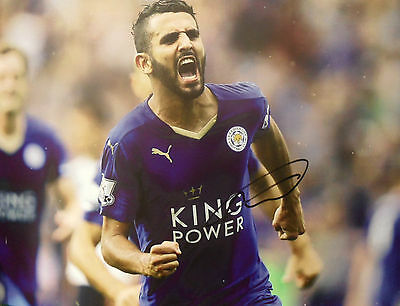 RIYAD MAHREZ Signed 16x12 Photo LEICESTER CITY Premier League Champions COA