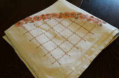 """Large Square Vintage Hand-embroidered Linen Tablecloth Orange Daisies 43"""" x 43"""""""