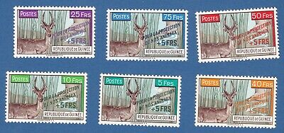 Guinea 1961 protezione animali animals protection overprint surcharged MNH**nuov