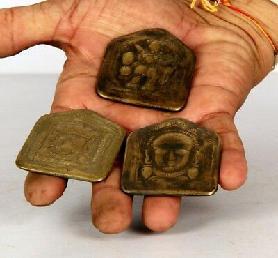 3 Pc Old Brass Bell Different Tribal God Engraved Pendant Dye, Rich Patina 10738