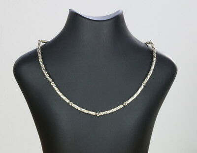 Danish 925S Sterling Silver necklace twisted links made by Randers Silversmith