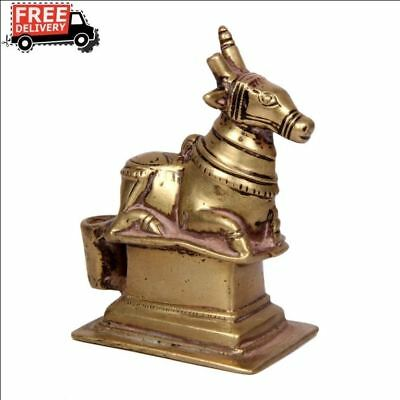 1850-1899, India Antique Hand Crafted Casted Brass Holy Cow Nandi Idol Figurine