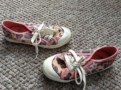 Girls Lace Up Leopard Print Trainers Uk 1