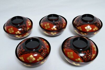 Japanese HIDEHIRA Lacquered Soup Bowl / Lidded Bowl Set of 5 From Japan