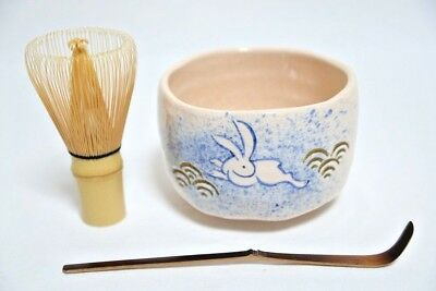 Tea Ceremony Chawan Raku Ware rabbit wave Tea Bowl w/Bamboo Tea Whisk ,Spoon