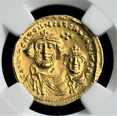 Aphrodite - Ngc Certified Byzantine Gold Solidus Of Heraclius/her. Constantine