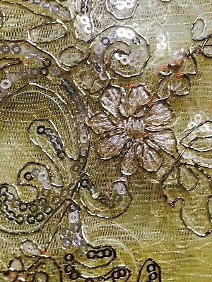 African Traditional Cloth -Net Fabric With Sequence & Bronze Embroidery- 5 Yards