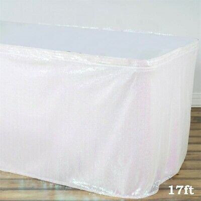 17 ft White SEQUIN TABLE SKIRT Wedding Party Catering Trade Show Banquet