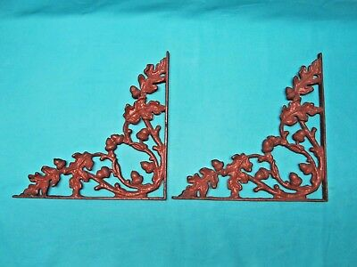 2 Antique Heavy Cast Iron Shelf Wall Brackets Oak Branch Leaves Acorns