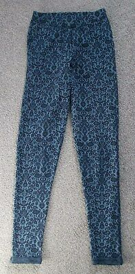 Tu Womens Blue/Black Leggings With Floral Design and Turned Up Cuffs Size 8