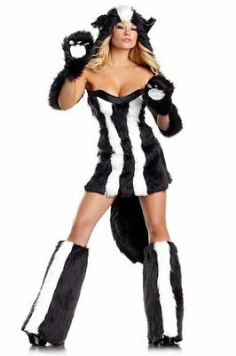 Deluxe Sassy Skunk Sexy ADULT Costume 6PC Be Wicked Cosplay Size S/M HALLOWEEN